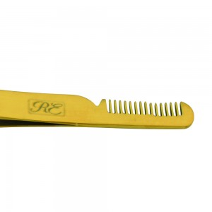 Professional Eyebrow Tweezers with Comb (Gold)
