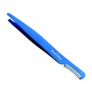 Professional Eyebrow Tweezers with Comb (BLUE)